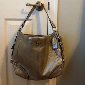Authentic Metallic Suede Coach Bucket Bag